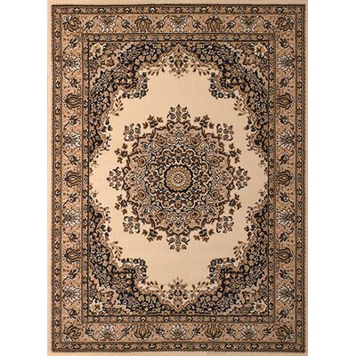Dallas Floral Kirman Ivory Area Rug Rug Size: 111 x 33