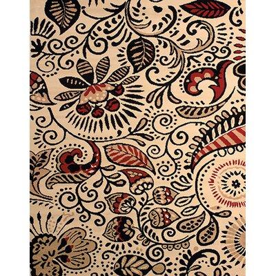 Dallas Bandanna Ivory/Black Area Rug Rug Size: 111 x 33