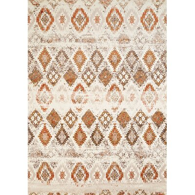 Randolph Beige/Orange Area Rug Rug Size: 53 x 72