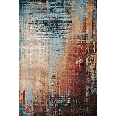 Randers Blue/Red Area Rug Rug Size: 53 x 72