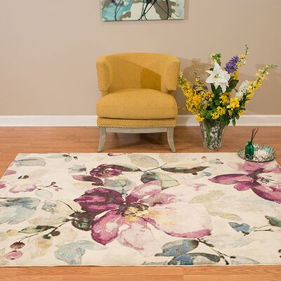 Alaskan Floral Garden Ivory/Purple Area Rug Rug Size: Square 710 x 710