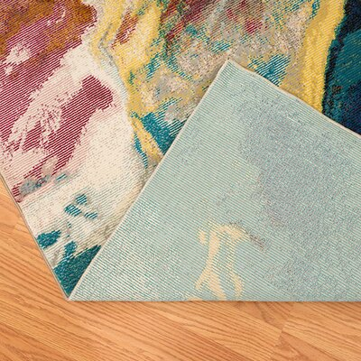 Ehlert Nebula Blue/Brown/Ivory Area Rug Rug Size: Rectangle 11 x 3