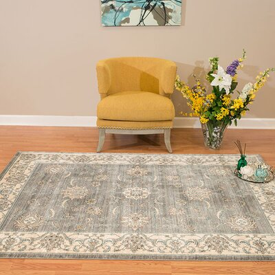 Jansson Oriental Blue/Gray Area Rug Rug Size: Rectangle 53 x 710