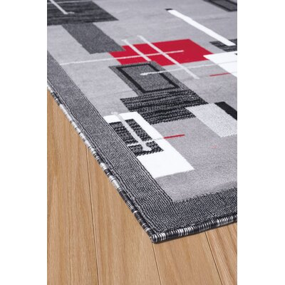 Eloise Gray/Red Area Rug Rug Size: 53 x 72