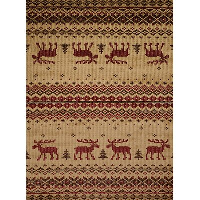 Sayre Embroided Moose Beige/Red Area Rug Rug Size: 53 x 72