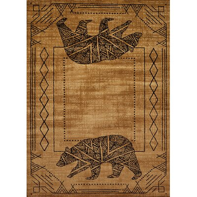 Sayre Bear Cave Gold/Black Area Rug Rug Size: 53 x 72