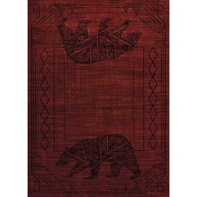 Sayre Bear Cave Red Area Rug Rug Size: 710 x 106