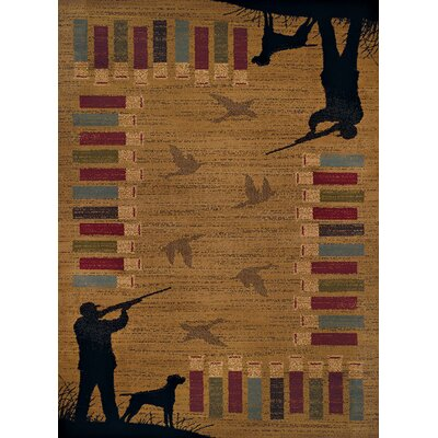 Sayre Bird Shot Gold/Black Area Rug Rug Size: Runner 111 x 72