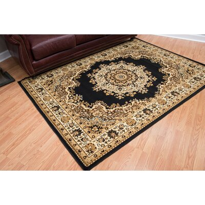 Dallas Floral Kirman Black Area Rug Rug Size: 53 x 72