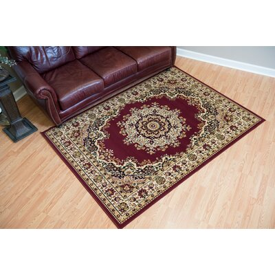 Dallas Floral Kirman Burgundy Area Rug Rug Size: 53 x 72