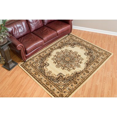 Dallas Floral Kirman Ivory Area Rug Rug Size: 710 x 106