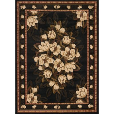 China Garden Sugar Magnolia Black Area Rug Rug Size: Runner 111 x 72