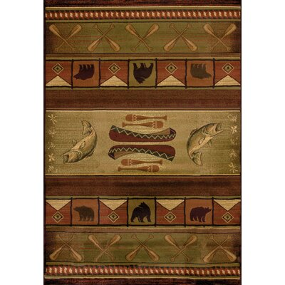Genesis Green Colorado Lodge Area Rug Rug Size: Runner 111 x 74