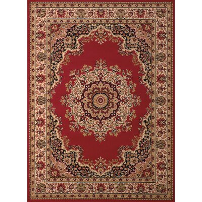 Dallas Floral Kirman Red Area Rug Rug Size: 53 x 72