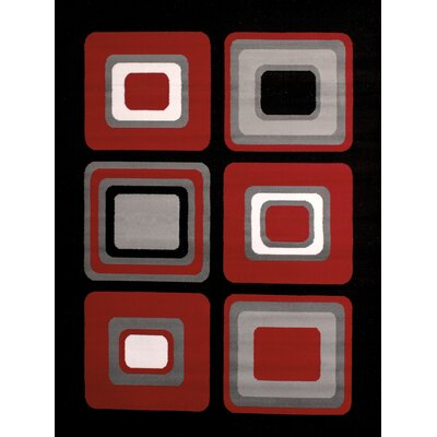 Dallas Spaces Red/Gray Area Rug Rug Size: 53 x 72