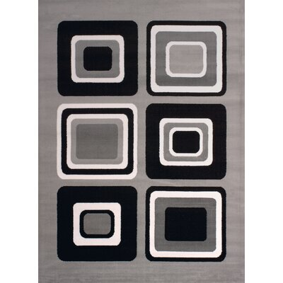 Dallas Spaces Gray/Black Area Rug Rug Size: 53 x 72
