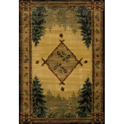 Genesis Yellow Forest Trail Lodge Area Rug Rug Size: Runner 111 x 74