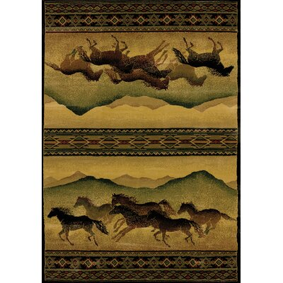 Genesis Yellow Chestnut Mare Lodge Area Rug Rug Size: 53 x 76