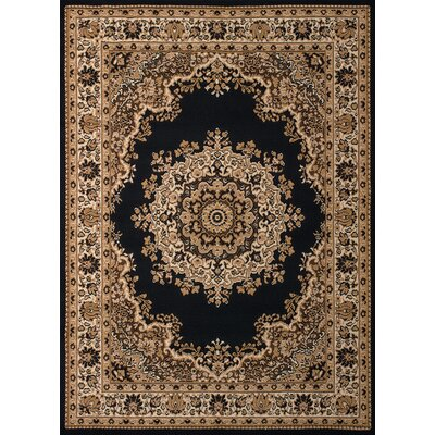 Dallas Floral Kirman Black Area Rug Rug Size: 23 x 72