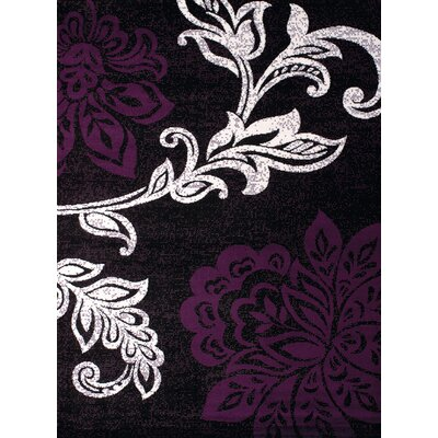 Dallas Trouseau Plum/White Area Rug Rug Size: 53 x 72