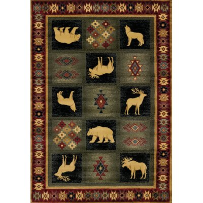 Genesis Green/Red Dakota Area Rug Rug Size: Runner 111 x 74