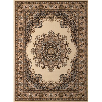 Dallas Floral Kirman Ivory Area Rug Rug Size: 53 x 72