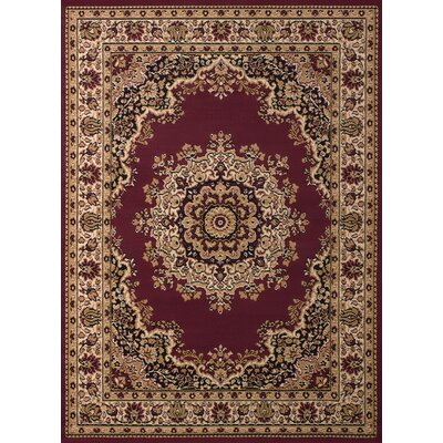 Dallas Floral Kirman Burgundy Area Rug Rug Size: 710 x 106