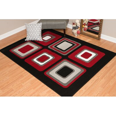 Dallas Spaces Red/Gray Area Rug Rug Size: 111 x 33