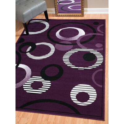 Dallas Hip Hop Lilac Area Rug Rug Size: 23 x 72