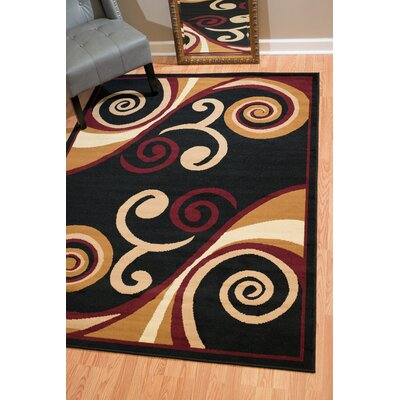 Dallas Billow Tan/Burgundy Area Rug Rug Size: 53 x 72