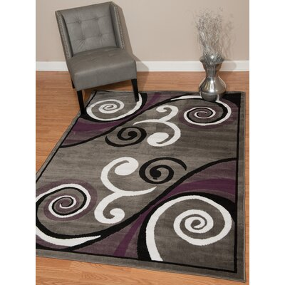 Dallas Billow Gray Area Rug Rug Size: 53 x 72
