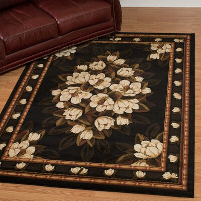 China Garden Sugar Magnolia Black Area Rug Rug Size: Rectangle 710 x 106