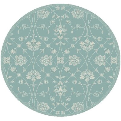 Paula Blue Floral Outdoor Area Rug Rug Size: Round 53