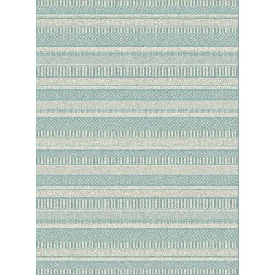 Armstrong Geometric Light Grey/Blue Outdoor Area Rug Rug Size: Rectangle 2 x 37