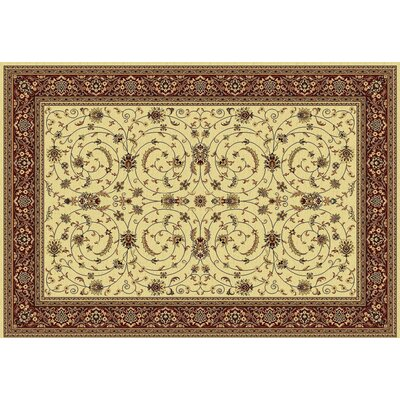 Taj Creme/Red Area Rug Rug Size: Rectangle 2 x 35