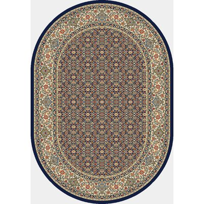Ancient Garden Black/Ivory Area Rug Rug Size: Oval 53 x 77