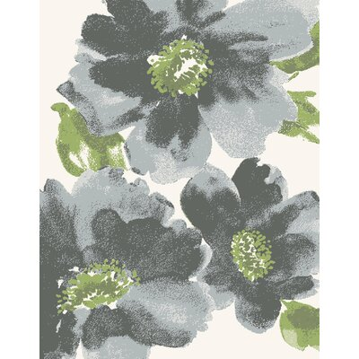 Martin Gray Floral Area Rug Rug Size: Rectangle 710 x 1010