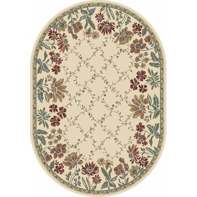 Ancient Garden Persian Ivory Area Rug Rug Size: Oval 27 x 47