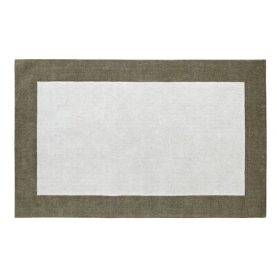 Manhattan White Solid Bordered Area Rug Rug Size: 8 x 11