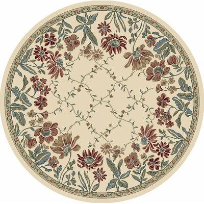 Ancient Garden Persian Ivory Area Rug Rug Size: Round 53