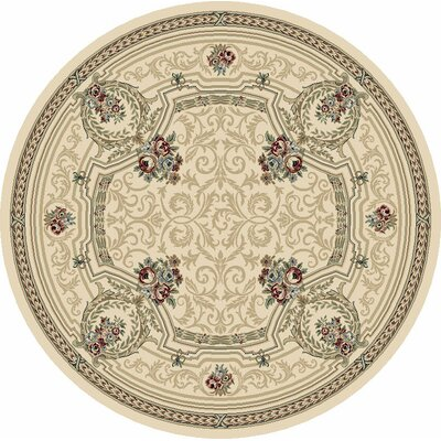 Ancient Garden Persian Ivory Area Rug Rug Size: Round 710
