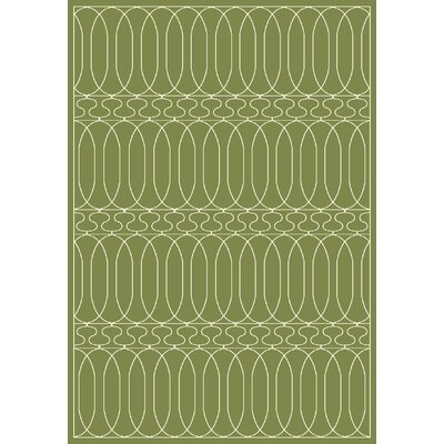 Trend Dark Green Geometric Area Rug Rug Size: Rectangle 53 x 77