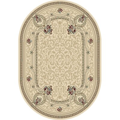 Attell Persian Ivory Area Rug Rug Size: Oval 53 x 77