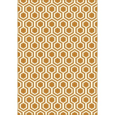 Trend Orange Geometric Area Rug Rug Size: Rectangle 53 x 77