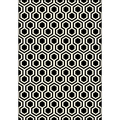 Trend Black Geometric Area Rug Rug Size: Rectangle 53 x 77