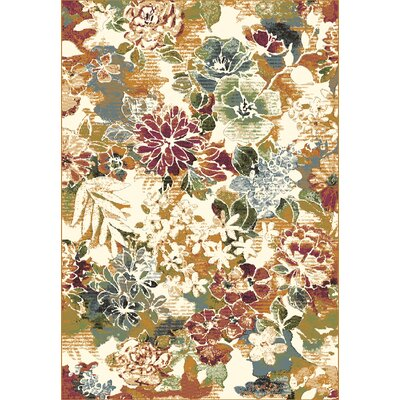 Heritage Floral Area Rug Rug Size: Rectangle 53 x 77