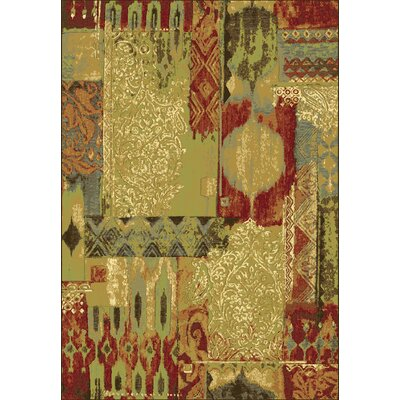 Heritage Sage / Red Area Rug Rug Size: Rectangle 67 x 96