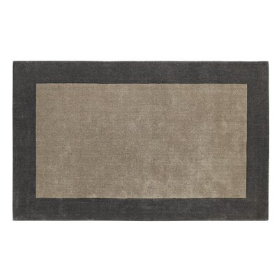 Manhattan Silver/Charcoal Solid Bordered Area Rug Rug Size: 5 x 8