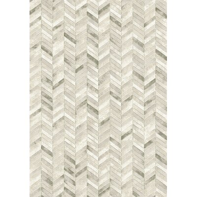 Eclipse Silver Chervon Area Rug Rug Size: Rectangle 67 x 96