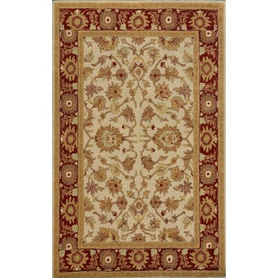 Sapphire Ivory / Red Oriental Area Rug Rug Size: 5 x 8